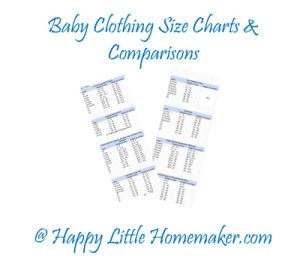 Baby Clothing Size Charts - By weight & height for common brands including Carters, Gymboree, Old Navy, Circo & more!