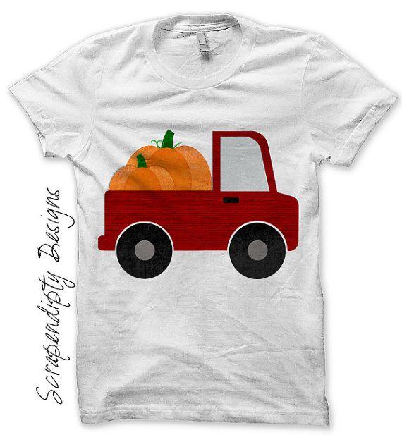 Fall Iron on Transfer - Iron on Pumpkin Shirt / Kids Pumpkin Truck Outfit / Newborn Pumpkin Outfit Digital / Toddler Boys Fall Shirt IT476-P
