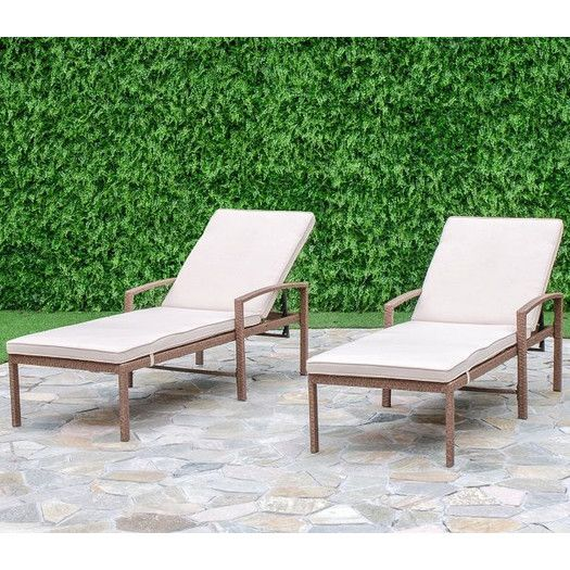 $340 for 2 steel frame Laurel Foundry Modern Farmhouse Matoury Chaise Lounge with Cushion & Reviews | AllModern