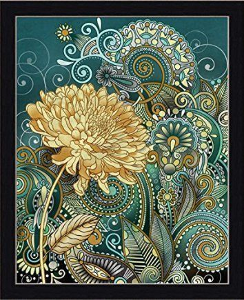Inspired Blooms I Conrad Knutsen Teal Yellow Floral Design Framed Print Wall Art Decor Picture    Improve the look on the inside of your home by using floral wall art.  By adding pretty flower paintings and flower wall art you can create a nice and relaxing house.  I like using both framed floral wall art and plain canvas floral art prints together. Flower paintings and wall art look fabulous in living rooms, bedrooms and hallways.  Additionally don't forget to place small floral accent pain