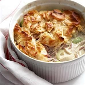 Chicken, ham and leek filo pie recipe. Use the Roast chicken with speedy gravy recipe to make a delicious Sunday lunch and this creamy chicken pie.
