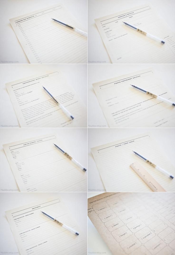 printable photographer journal 32 kinds of worksheets, tabs, organizer, workbook, templates