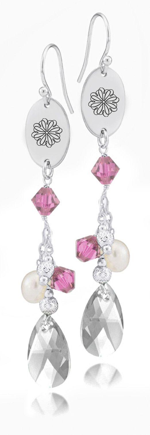 Sigma Kappa Symbol Pink Crystal and Freshwater Pearl Earrings