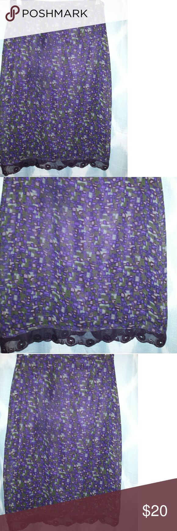 "Cynthia Steffi purple mosaic lace hem skirt Sheer, lined A-line skirt. Back zip and button closure, fits tts, excellent condition. Waist 13.5"" Length 25"" Cynthia Steffe Skirts"