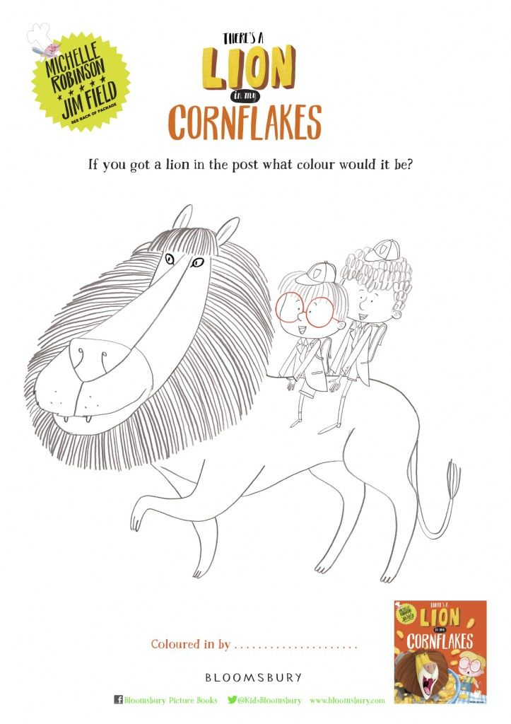 There's a Lion In My Cornflakes colouring sheet by Jim Field.