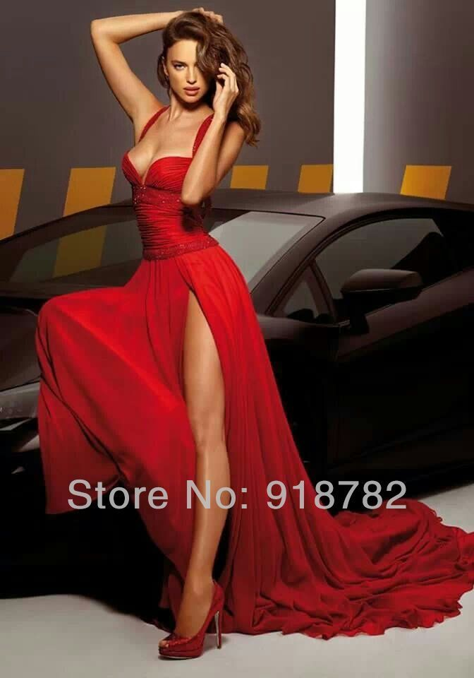 2014 2 Bandage Sexy Side Slit Prom Dresses Long Sweep Train Backless Ball Dresses Red Evening Dress