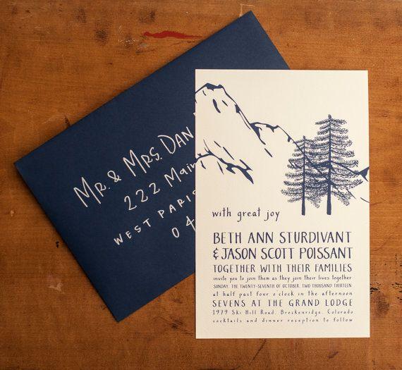 Mountain Wedding Invitations - Winter Wonderland - Folk, illustrated, handmade, trees, woodland, forest, mountains, west