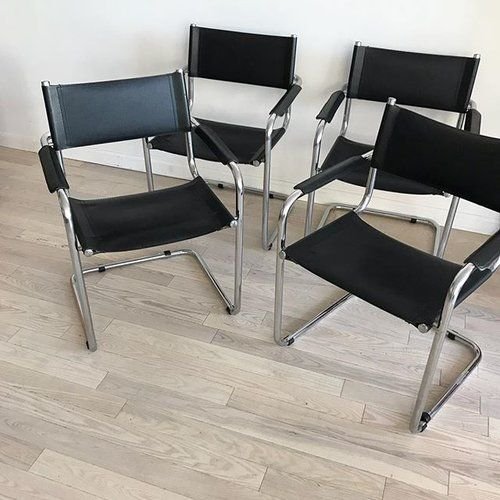 Made in Italy vintage Mart Stam cantilever Chairs, $500 per pair. 4 pairs available. 🖤〰〰〰 #cantilever #Italian #martstam #marcelbreuer #chrome #leather #furnituredesign #bauhaus #style #furnitureshop #furnituredesign #furnituretrends #retro #1970s #vintage #brooklyn #diningchairs #williamsburg #brooklyn #nyc #homeunion #forsale