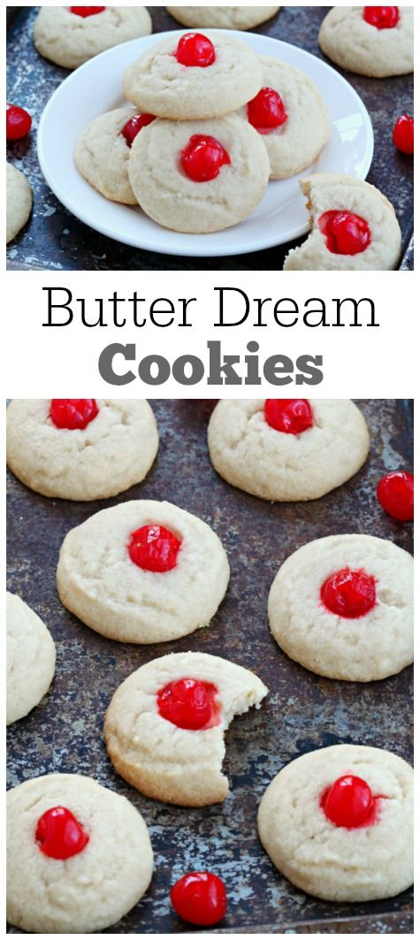 Butter Dream Cookies : seriously the most delicious, butter cookie recipe!  My family has been making this holiday cookie recipe for over 40 years- we like to press red and green maraschino cherries into the top for a festive look!