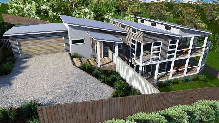 Burrawang Picture of Sloping Site Skillion Roof Modern Contemporary Coastal Beachy and two storey design sloping site design floor plans…