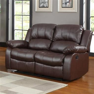 Cranley Brown Wood Bonded Leather Reclining Loveseat