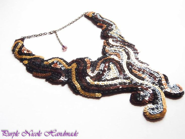 Flowing Stars - Handmade Statement Necklace by Purple Nicole (Nicole Cea Mov). Materials: felt, colored sequins.