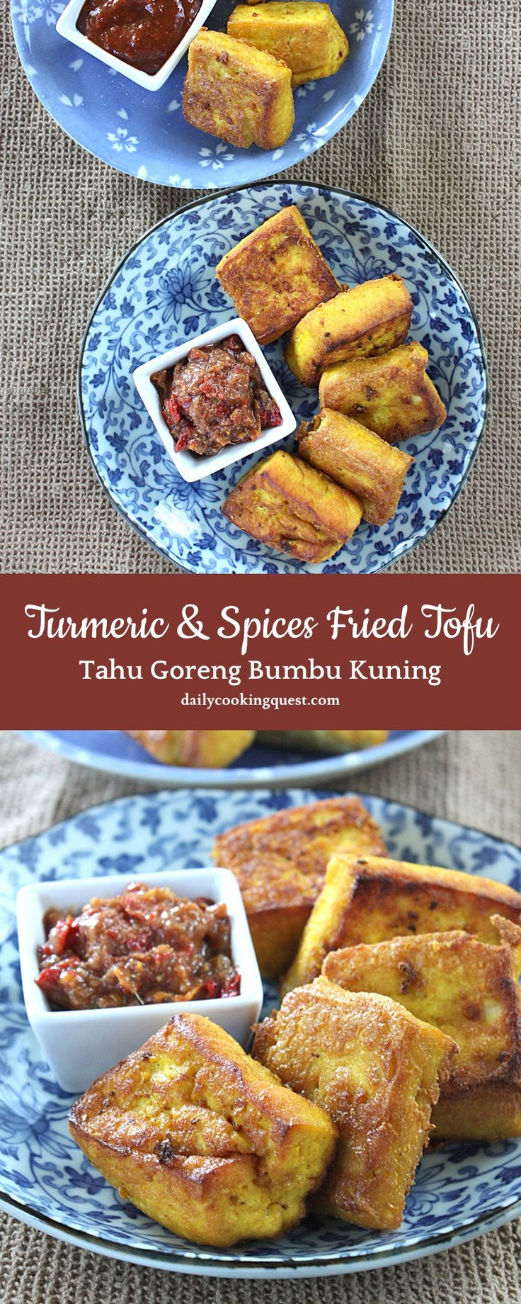 Turmeric and Spices Fried Tofu (Indonesian: Tahu Goreng Bumbu Kuning)