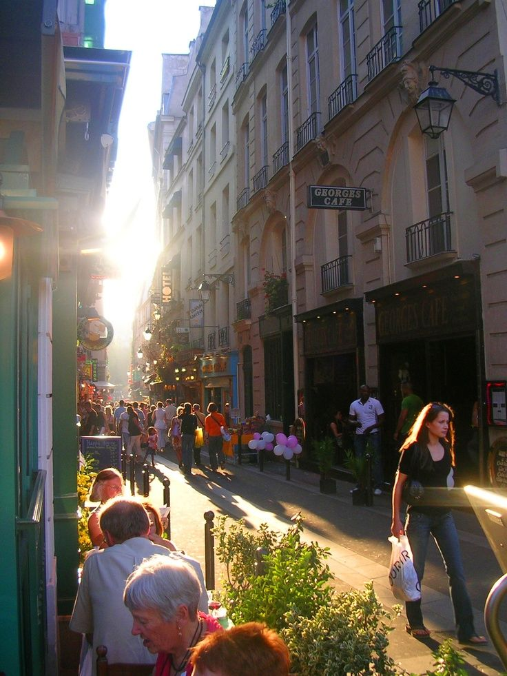 The Latin Quarter where students meet and fall in love over café crème and croissants. Rabelais named it the Quartier Latin after the students and the professors who spoke Latin in the classroom and on the streets. The sector teems with belly dancers, restaurants, cafes, bookstalls, caveaux (basement nightclubs), clochards (bums), chiffonniers (ragpickers), and gamins (kids).