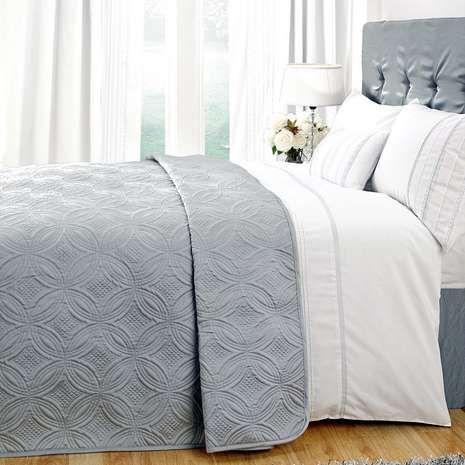 White Evangeline Grey Bedspread