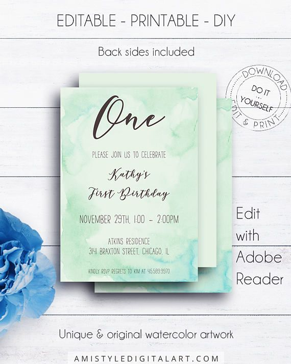 Watercolour 1st Birthday Invitation for boys and girls - with adorable hand-painted watercolor background - in a modern and fresh styleThis green watercolor birthday invitation template is for an instant download EDITABLE PDF so you can download it right away, DIY edit and print it at home or at your local copy shop by Amistyle Digital Art on Etsy