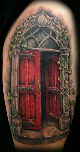 Gothic red door tattoo