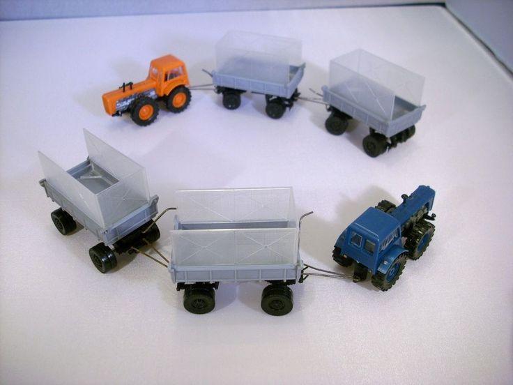 2 St DDR Modellauto Traktor D4K mit 4 St Anhänger für H0 Bahn