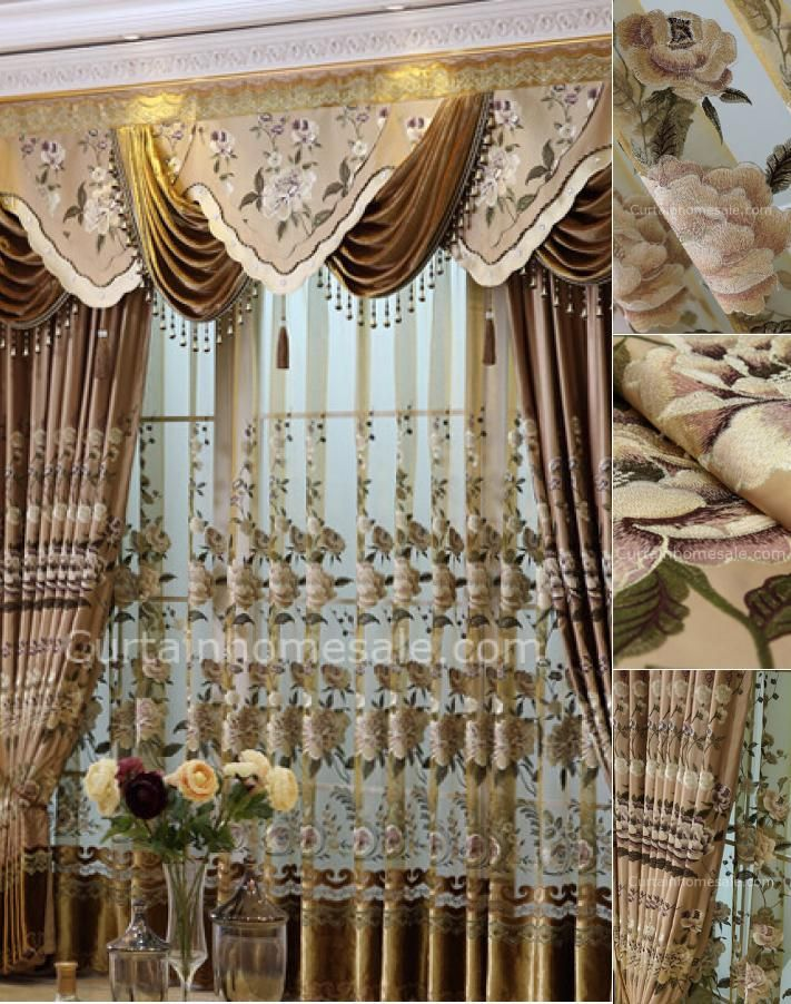 Luxury Faux Silk Fabric Living Room Curtain In Coffee Color #silk #curtains #for #living #room