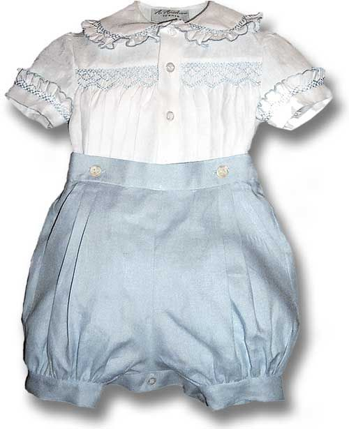 Baby Boy's Button Suit with Smocked shirt