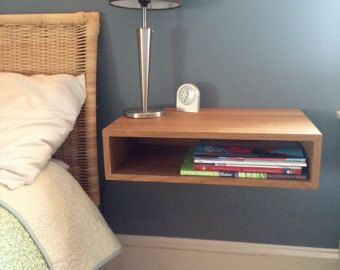 Floating Nightstand / Bedside Table In White Oak, Walnut Or Maple,  Mid Century Modern Inspired