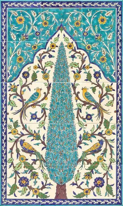 Birds of paradise ceramic tile mural by the amazing Jerusalem Pottery