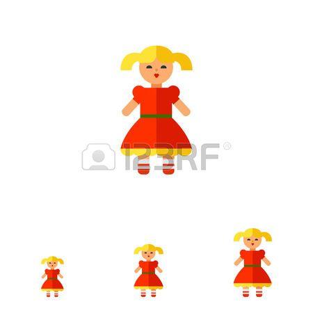 BAMBINO CHE GIOCA CON LE BAMBOLE: Multicolored vector icon of doll in red dress