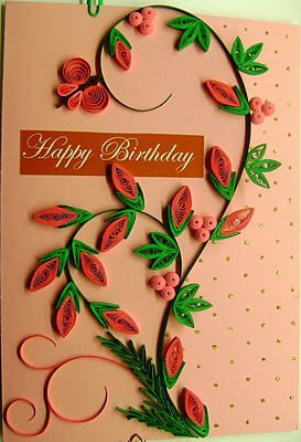 Birthday Card #quilling   (imagine b with scrolling doodles, too)