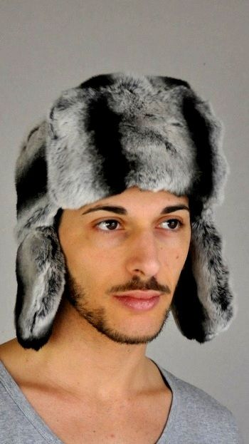 Soft rex-chinchilla fur hat, russian style. Made in Italy.  www.amifur.co.uk