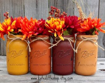 Items similar to Fall Painted Mason Jars. Pint Size Painted and Distressed Mason Jars. Vintage Looking Mason Jars. Rustic Home Decor. House Wears. Flowers. on Etsy