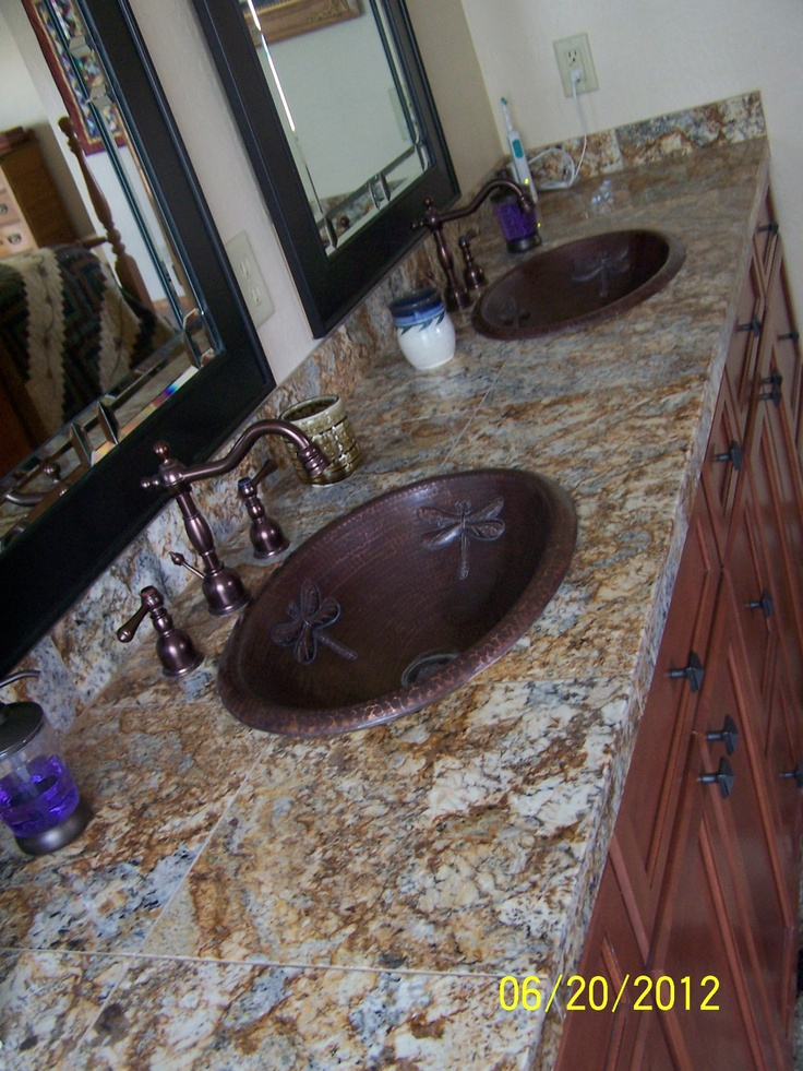 Granite Tile Tops In Bathroom Vanity With Copper