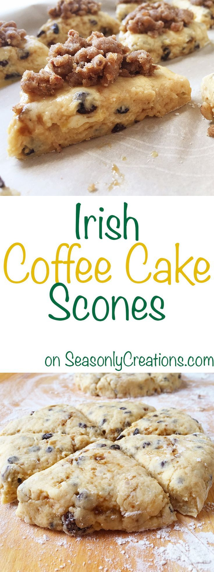 Irish Coffee Cake Scone recipe, a great option for St. Patricks Day or anytime you need a sweet tooth fix! PLUS, there's a FREE Printable Recipe and Resource List for your scone making project. Click through for the full recipe and for your free printable! | SeasonlyCreations.com | @SeasonlyBlog