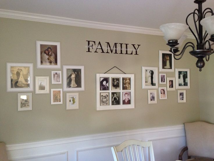 Dining room decor.. Display old fashion pics black&white/sepia and hang in dining room. It's a nice touch to have parents/grandparents/great-grandparents around you in the family dinning room. Throw a decal on the wall and WA-LA!