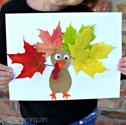 Leaf Turkey Craft for Kids. Collect leaves outside with your kids and use them to create this cute and fun #Thanksgiving craft! All you need are leaves, glue, construction paper, scissors, and googly eyes.