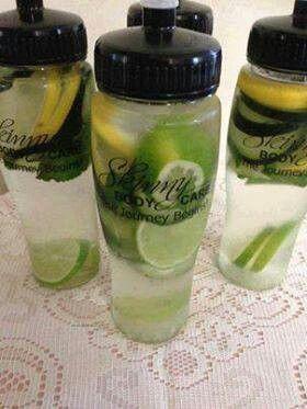 Fat Flush  1 cucumber 1 lemon 2 limes 1 bunch mint  Cut up & divide between 4   24oz water bottles. Drink daily.