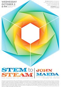 """Evnin Lecture John Maeda, President of Rhode Island School of Design October 2, 2013, 8 PM Princeton University Friend Center, Room 101  STEM to STEAM: The Meaning of Innovation Co-sponsored by the Lewis Center for the Arts and the School of Engineering and Applied Science.   Leaders think STEM (Science, Technology, Engineering, Math) is the way to innovate. We need to add """"Art"""" to turn """"STEM"""" into """"STEAM."""""""