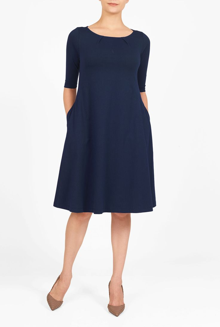 An on-duty knit with off-duty comfort gives everyday appeal to our simple, easy shift dress.