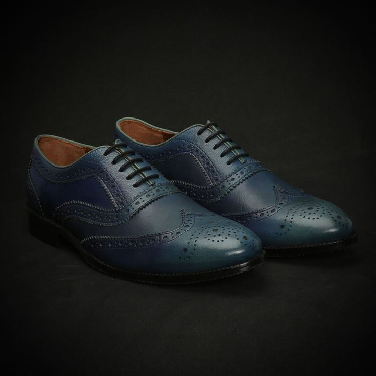 BUY BLUE HAND PAINTED DUAL SHADE LEATHER FULL BROGUE SHOES EXCLUSIVE COLLECTION BY BRUNE