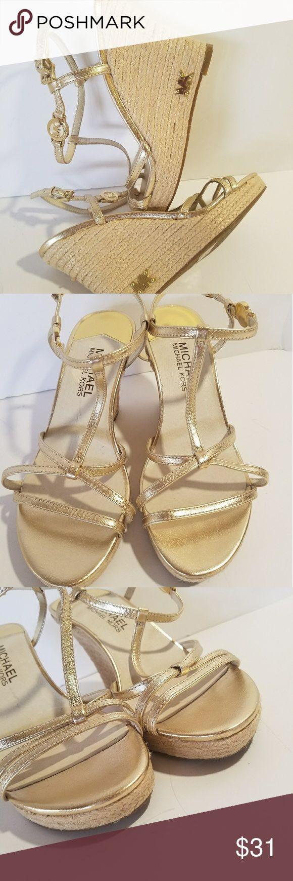 "Michael Kors Gold Wedge Sandals Size 6M NWOT MICHAEL KORS - Gold - 3.5"" Wedge Heels - Sandals - MK Logo Hardware -Size 6M - NWOT Item#01-11S Michael Kors Shoes Wedges"