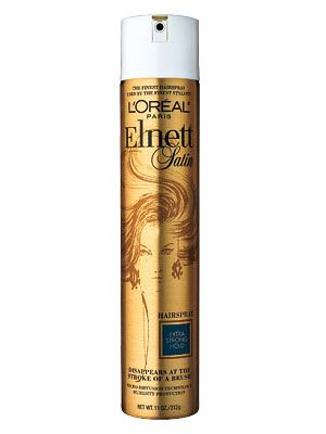 L'Oréal Elnett Satin Hairspray   Winner '10, '09  Hair pros are so hooked on this European import, they used to smuggle it through customs before it became available stateside in 2008. The flake-free spray holds even gravity-defying styles in place, says N.Y.C. colorist Rita Hazan, who has worked with Jennifer Lopez. It can also be easily brushed out for do-overs.   $15/11 oz.