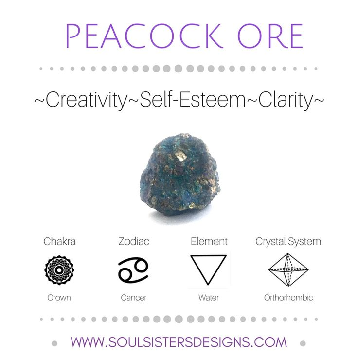 Metaphysical Healing Properties of Peacock Ore, including associated Chakra, Zodiac and Element, along with Crystal System/Lattice to assist you in setting up a Crystal Grid. Go to https://www.soulsistersdesigns.com/peacock-ore to learn more!