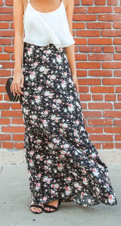 Floral skirt with simple top. Girl next door sweetness.