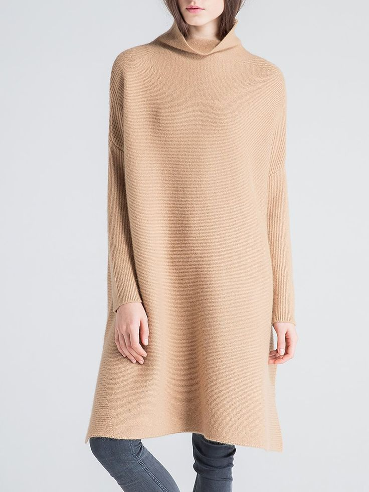#StyleWe Shop Sikya Dresses - Camel Cashmere Long Sleeve Sweater Dress online. Discover unique designers fashion at AdoreWe.net.