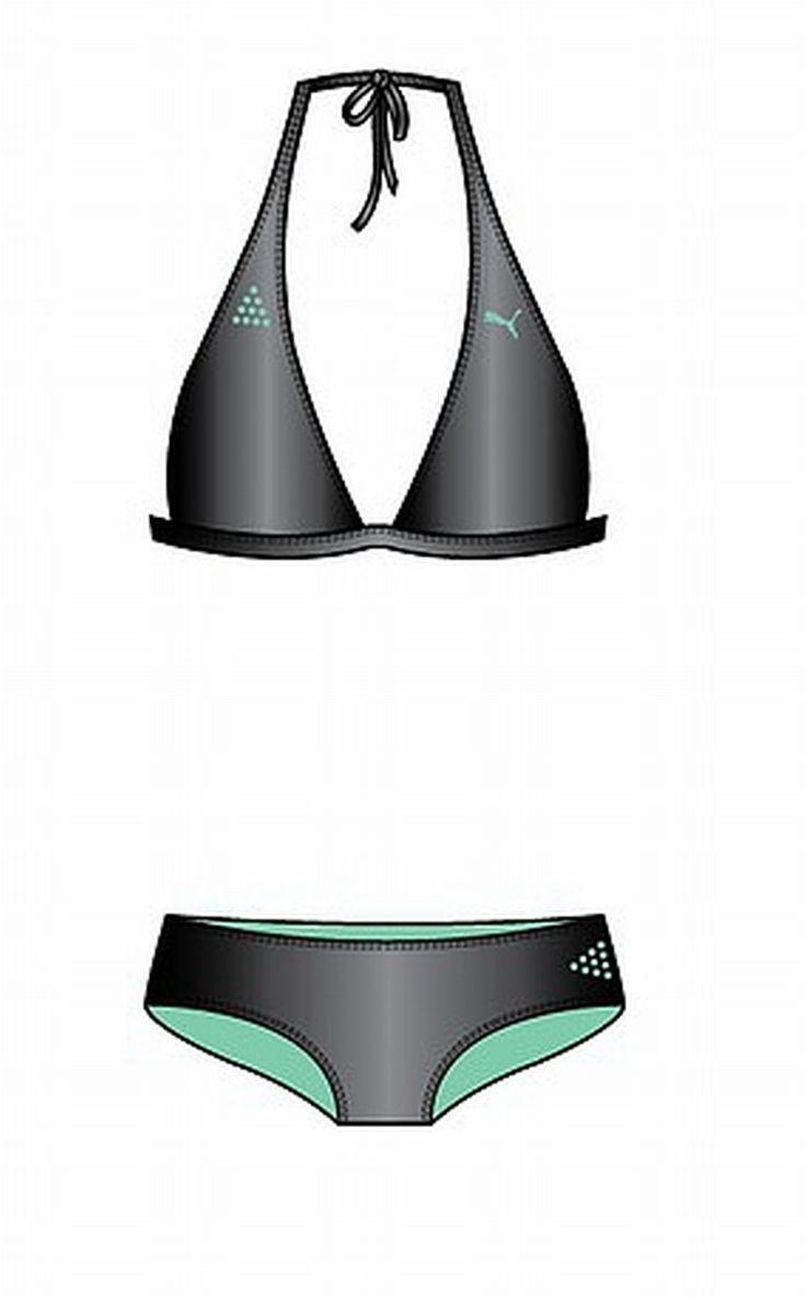 Puma Ladies Bikini Style Cats halterneck bikini gray-green