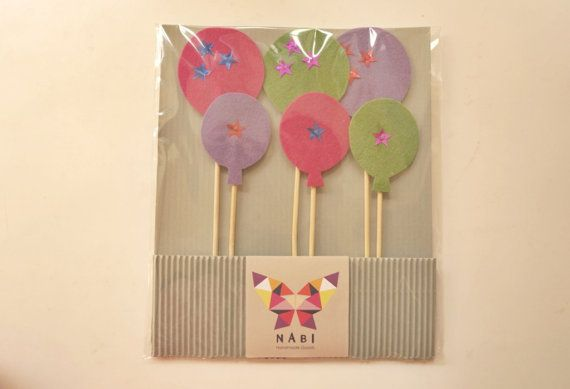 6 Balloons Party Picks Cupcake Toppers Food Picks by NABISTYLE, $10.00