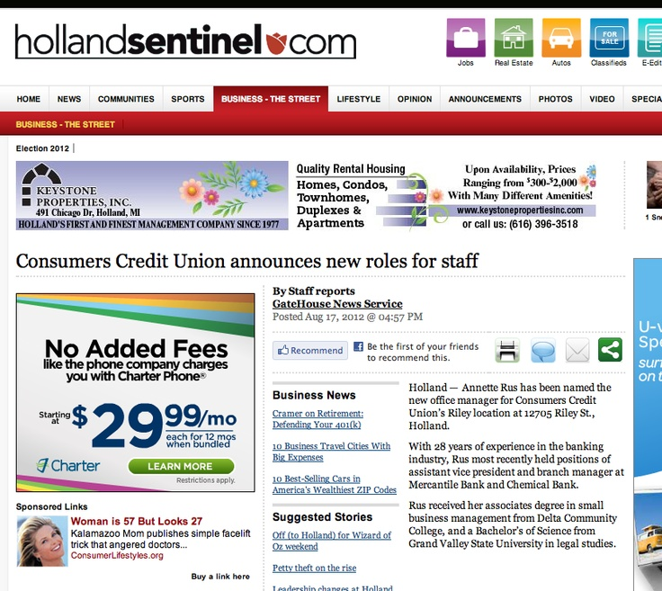 Holland Sentinel | Consumers Credit Union announces new roles for staff | 8/17/12Annette Rus, Holland Sentinel, Union Riley, 12705 Riley, Consumer Credit, Credit Union, Riley Locations, Union Announcements, Offices Management
