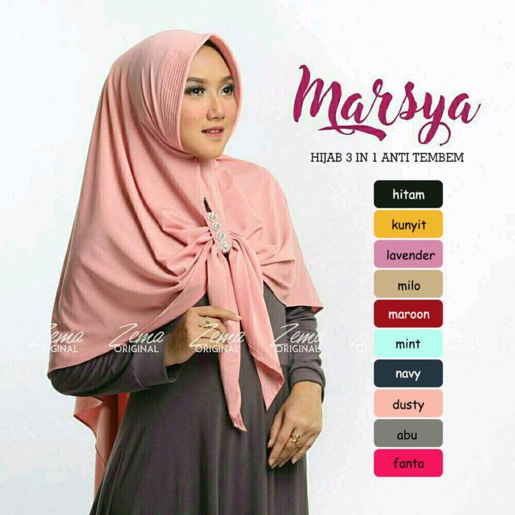 Jilbab Hijab Bergo Kerudung Instan Marsya Hijab 3 in 1 mempunyai keterangan produk Bahan Crepe Diamond dan Bubble Pop Aplikasi Aksen Swarowski Dan Layer