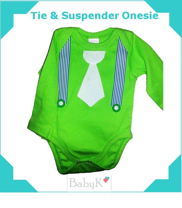 Bright green Tie & Suspender Onesie from BabyK.