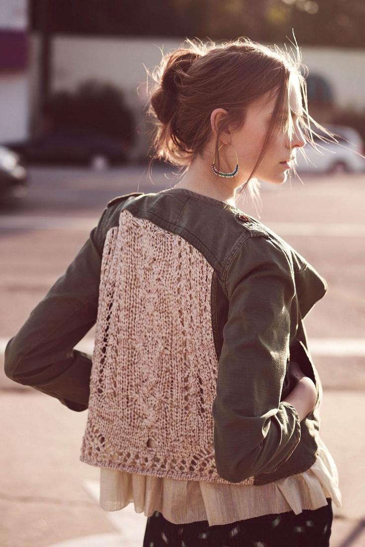 knit inset, openwork army jacket - anthropologie