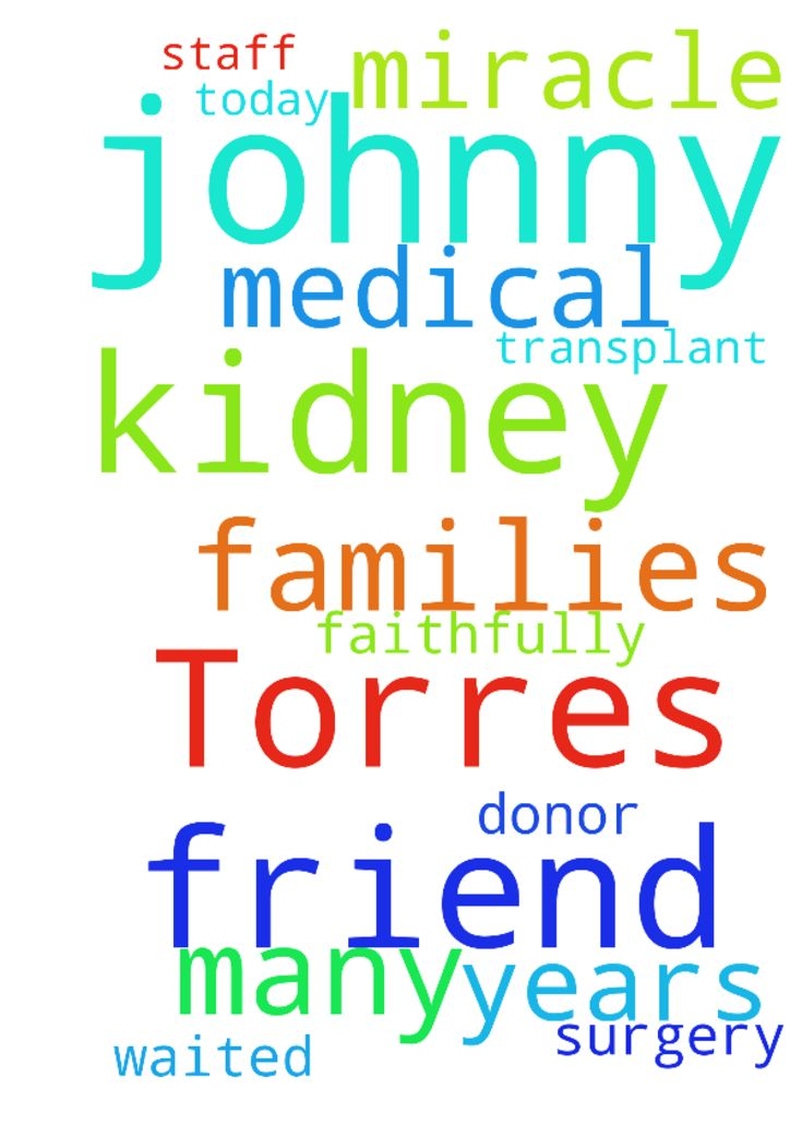 Please pray for my friend Johnny Torres as he has kidney - Please pray for my friend Johnny Torres as he has kidney transplant surgery today. He has waited faithfully many years for this miracle. Please pray for Johnny, the donor, the families and the medical staff. Posted at: https://prayerrequest.com/t/uXv #pray #prayer #request #prayerrequest